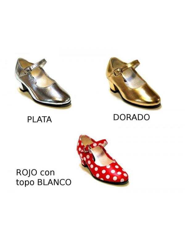 Zapato andaluza plata oro rojo topo blanco