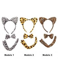 Diadema de leopardo set